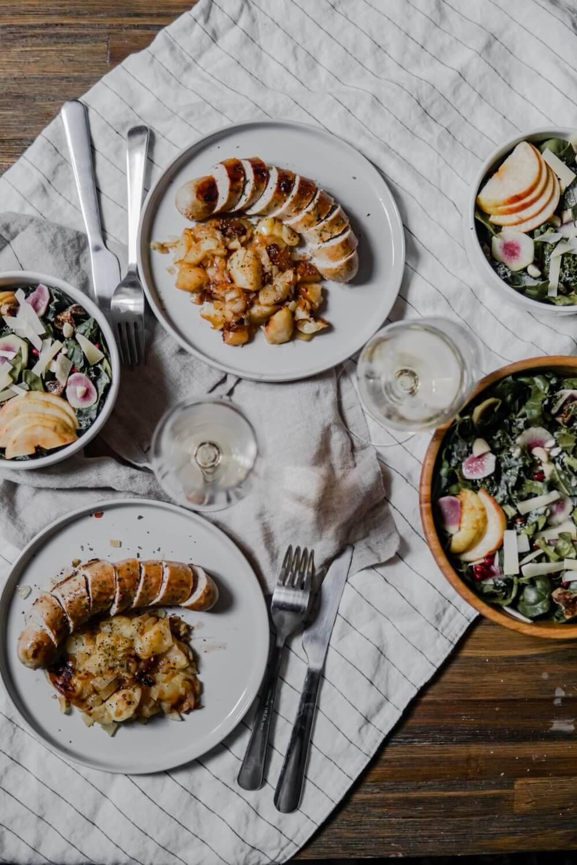 Boudin blanc aux pommes et Salade kale/epinards