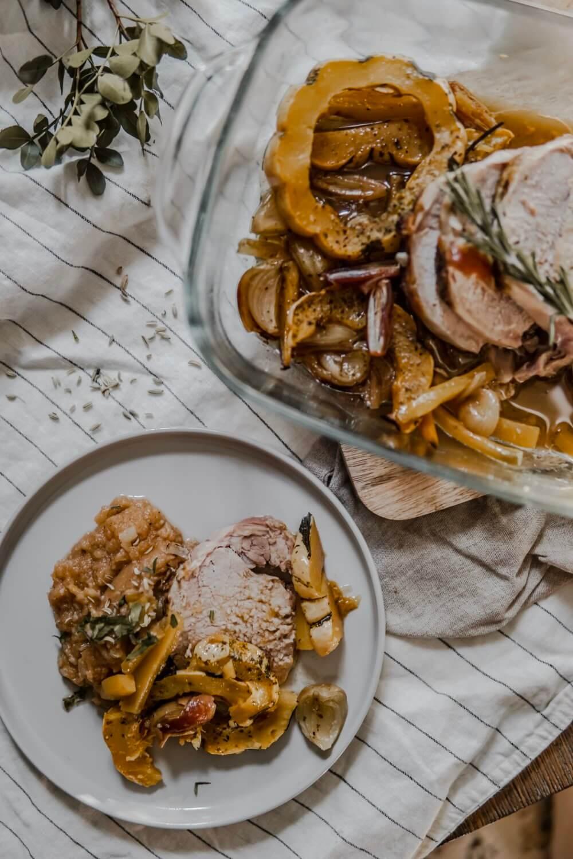 Rôti aux patidou et purée de rutabaga et topinambour aux épices.