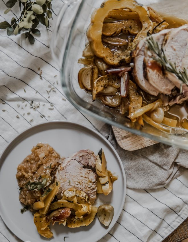 Rôti de porc aux patidou et purée de rutabaga et topinambour aux épices.