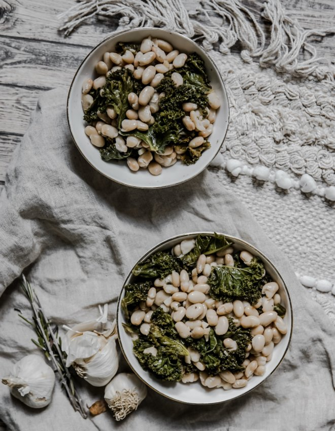 Kale sauté et haricots blanc