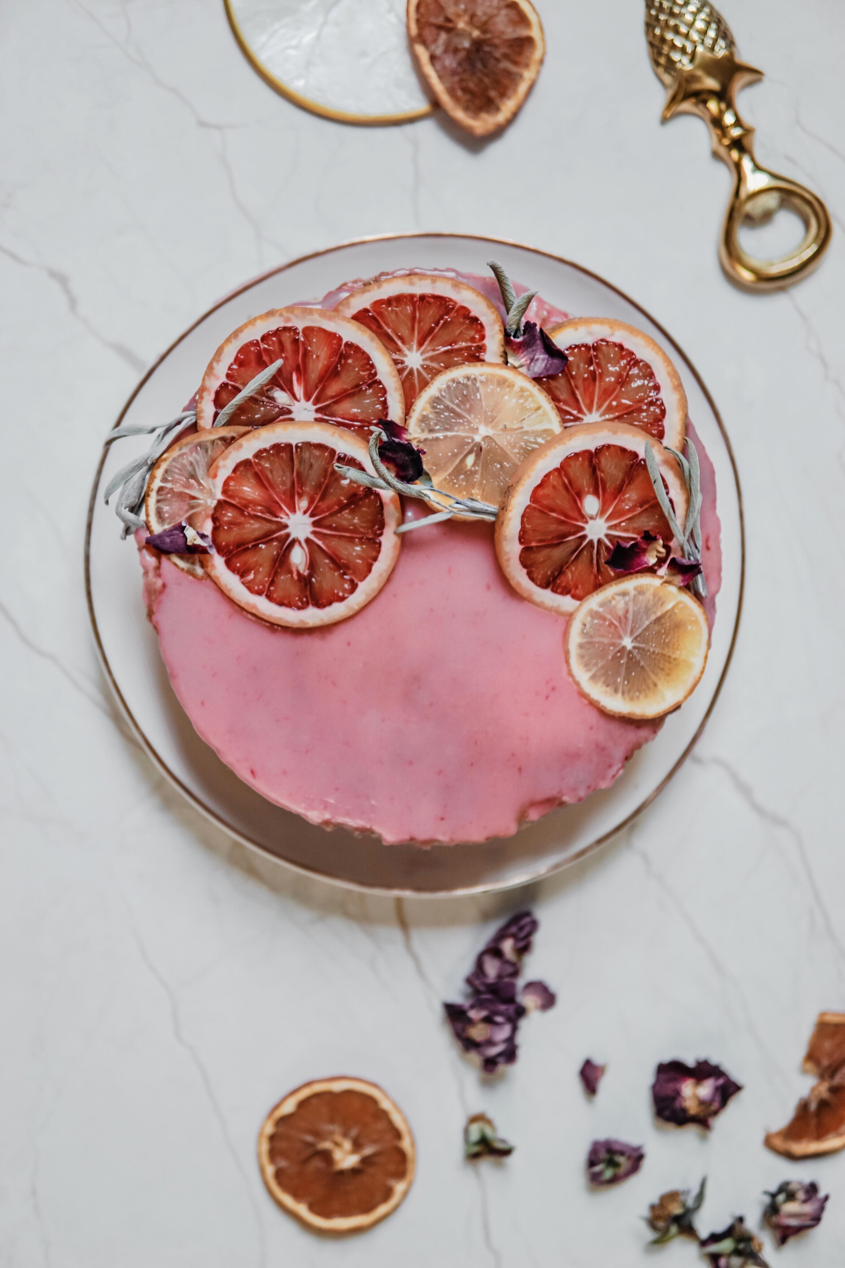 Gâteau facile Bergamote et glaçage Orange sanguine