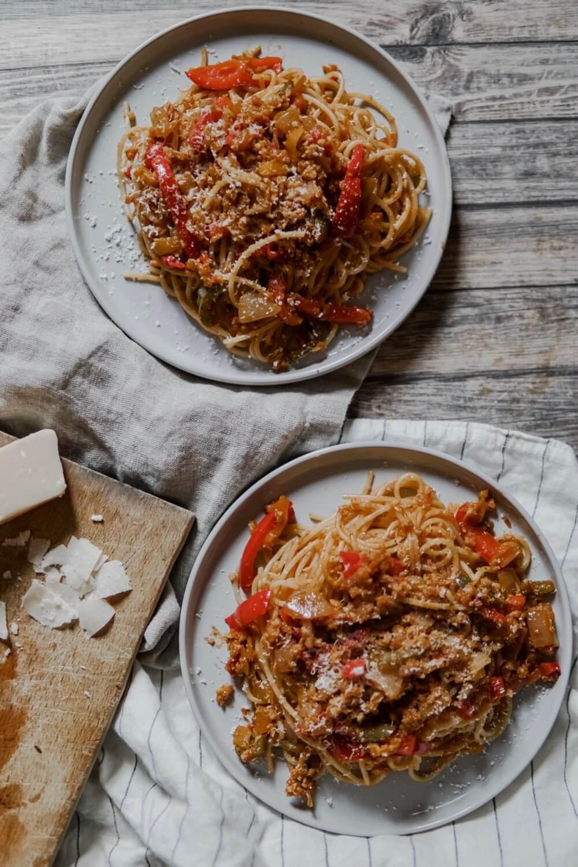 spaghetti bolognaises vegétariennes