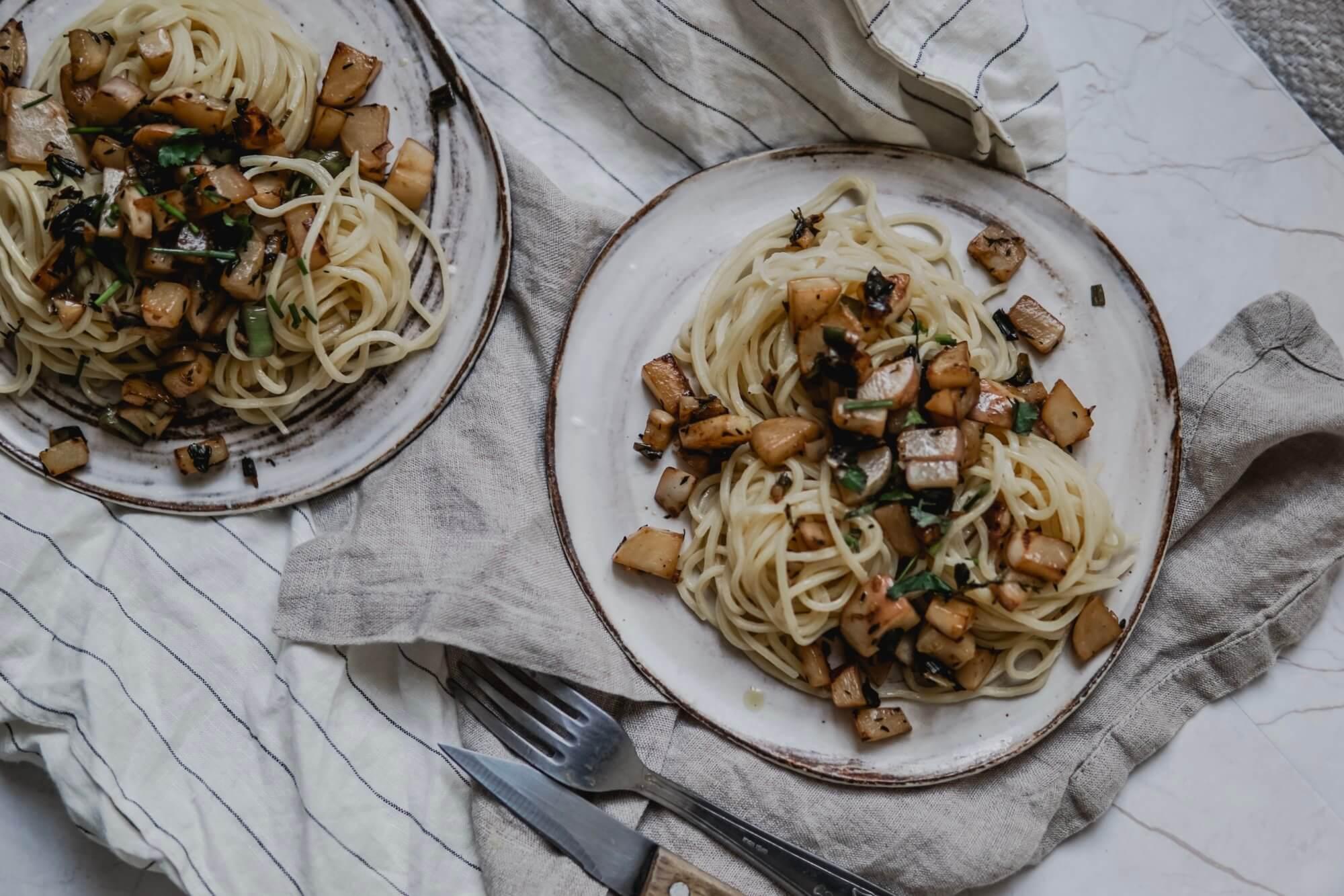 spaghetti au navets nouveaux - blog recette aswildchild
