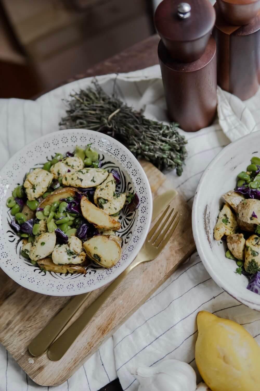 Salade Aux Feves Pommes De Terre Et Poulet Parfaite Pour Le Printemps