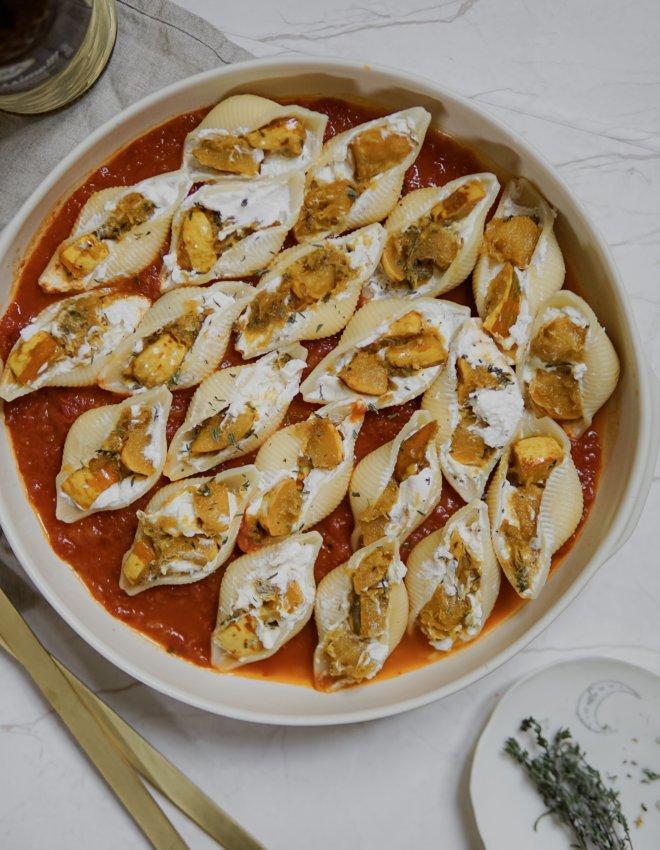 Conchiglionis farcis Ricotta/chèvre et patidou