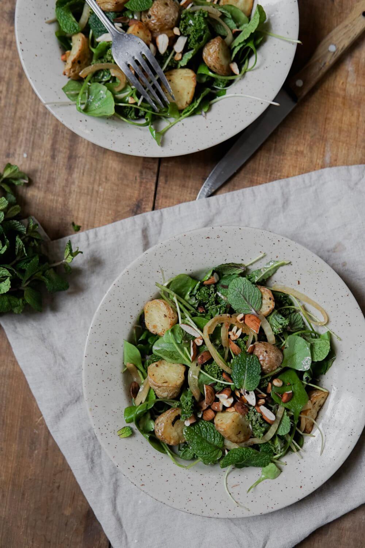 Salade pomme de terre/ pourpier et menthes