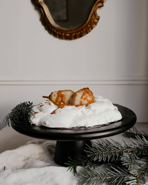 Menu de Noël, dessert : Pavlova aux poires