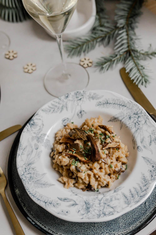 Menu de Noël, plat: Risotto de mont d'or aux cèpes